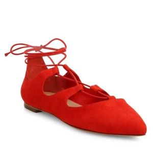 Loeffler Randall Ambra Point Toe Lace-Up Flats 9.5